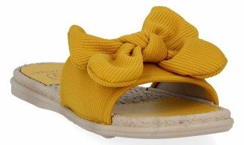 Żółte modne klapki damskie z kokardą firmy Givana