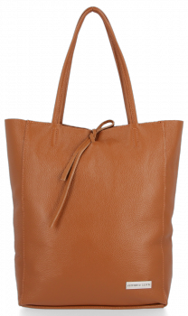 Uniwersalna Torebka Skórzana Firmowy Shopper Vittoria Gotti w rozmiarze XL Ruda