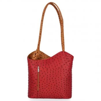 Włoska Torebka Skórzana firmy Genuine Leather Czerwona z rudym