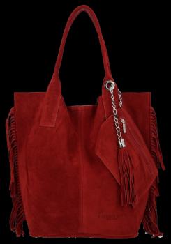 Modna Torebka Skórzana Zamszowy Shopper Bag w Stylu Boho firmy Vittoria Gotti Bordowa