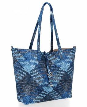 Torebka Damska Shopper Bag Venere Listonoszka Niebieska/Ciemno Beżowa