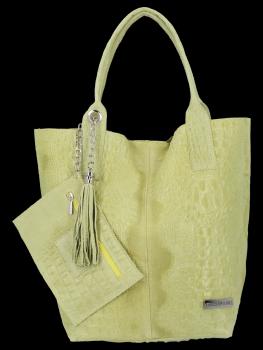 Włoskie Torebki Skórzane Shopper Bag w motyw aligatora firmy Vittoria Gotti Limonka