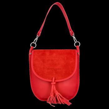 Vittoria Gotti Uniwersalna Duża Skórzana Listonoszka XL do noszenia na co dzień Czerwona