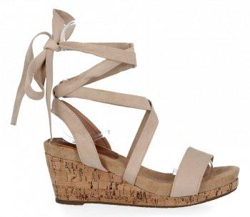Lady Glory Beżowe sandały damskie na koturnie