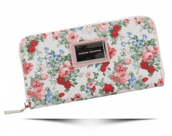 Modny Portfel Damski XL wzór w kwiaty Diana&Co Multikolor Pudrowy Róż