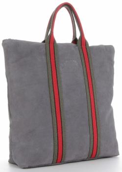 Vittoria Gotti Torebki Skórzane w modne paski Firmowy Shopper Made in Italy z funkcją Plecaczka Szara