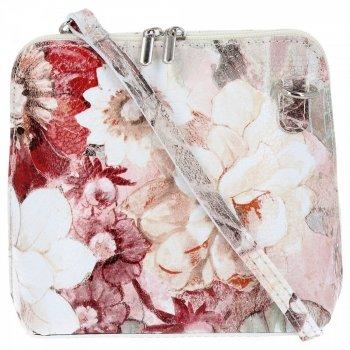 Vittoria Gotti Firmowa Listonoszka Skórzana Made in Italy w malowany wzór kwiatów Beżowa