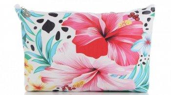Modne Kosmetyczki w rozmiarze M marki David Jones wzór w kwiaty Multikolor Różowa