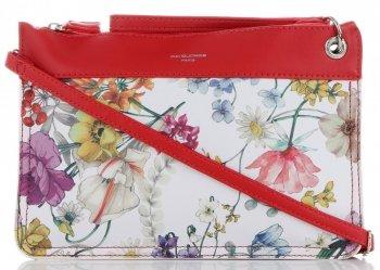 Firmowe Listonoszki Damskie we wzór kwiatów marki David Jones Multikolor Czerwona