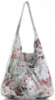 Torebka Skórzana firmy Vittoria Gotti Uniwersalny Włoski Shopper w modne wzory Kwiatów Jasno Szara