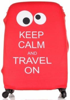 Pokrowiec na Walizkę firmy Snowball w rozmiarze L Keep Calm and travel on Czerwony