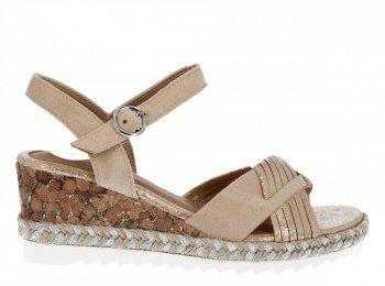 Beżowe modne sandały damskie na koturnie firmy Lady Glory