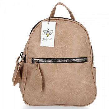 BEE BAG Dwukomorowy Plecak Damski Lara Ciemno Beżowy