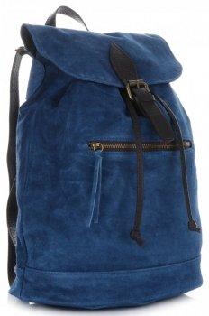 Vittoria Gotti Skórzany Plecak Damski Made in Italy Niebieski