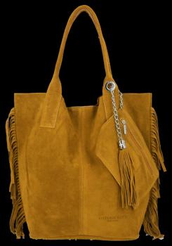 Módna kožená nákupná taška vyrobená zo semišu v Boho štýle od Vittoria Gotti svetlo červená