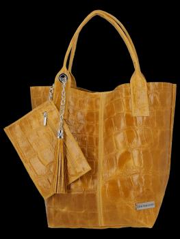 Univerzálna kožená nákupná taška XL v zvieracom štýle od horčice Vittoria Gotti