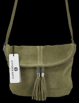 Univerzálna príležitostná kožená messengerová taška vo veľkosti M od Vittoria Gotti zelený