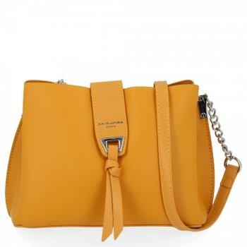 Elegantná dámska taška messenger 3 priehradky David Jones žltý