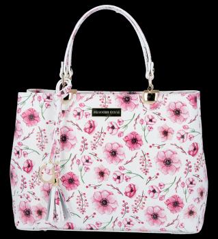Vittoria Gotti módna kožená taška elegantné puzdro vyrobené v Taliansku s kvetinovým vzorom viacfarebnej ružovej