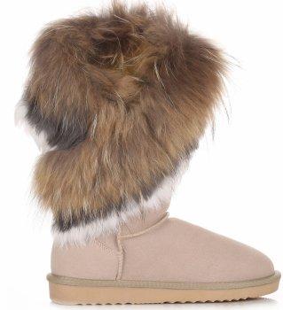 Talianske kožené členkové topánky dámske zimné topánky mýval / králičie kožušiny Béžová