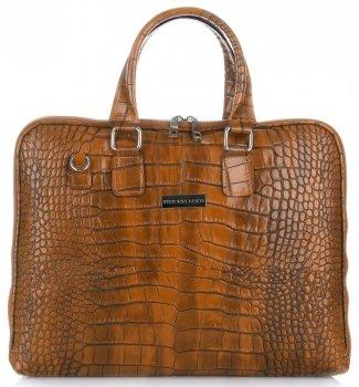 Dámske kožené Aktovky tašky A4 Vittoria Gotti Alligator Ruda