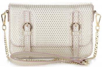 Exkluzívna Kožená taška na messenger talianskej spoločnosti Vittoria Gotti zlotý s béžovou