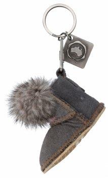 Kľúčenka na tašky topánky s kožušinou šedej