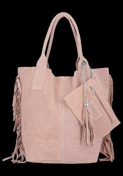 Módna kožená nákupná taška vyrobená zo semišu v Boho štýle od Vittoria Gotti ružový powder