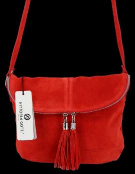Vittoria Gotti univerzálna Kožená príležitostná taška Messenger vo veľkosti M červená