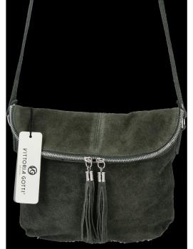 Vittoria Gotti Univerzálna Kožená Príležitostná Taška Na Messenger Veľkosť M Tmavo Zelená