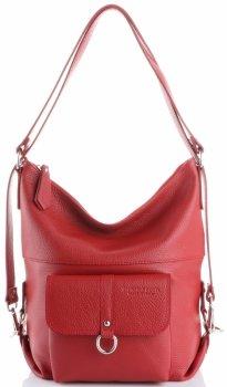 Vittoria Gotti všestranná a praktická obchodná Kožená taška, príležitostná taška na batoh, veľká taška na Messenger XL, Červená