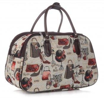 Średnia Torba Podróżna Kuferek Or&Mi Fashion Multikolor - Beżowa