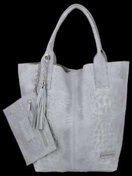 Talianske kožené tašky Shopper taška v Vittoria Gotti Aligator tému Svetlo šedá