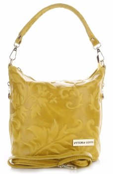 VITTORIA GOTTI vyrobené v Taliansku Kožená taška na posol s reliéfnou žltou farbou