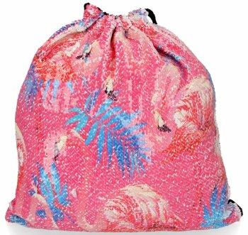 Módne batoh dámska taška s flitrami plameniak Ružová