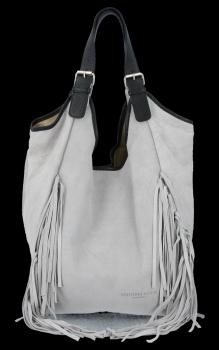 Módna kožená taška Shopper so strapcami od Vittoria Gotti svetlo šedá