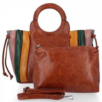 Módne kabelky dámske tašky vyrobené z hnedej kože David Jones