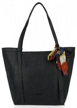David Jones univerzálna dámska nákupná taška s šatkou v čiernej farbe