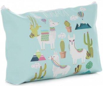 Značkové a módne kozmetické tašky značky L David Jones llama pattern multicolor mint