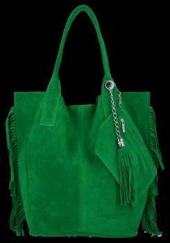 Módna kožená nákupná taška vyrobená zo semišu v Boho štýle od Vittoria Gotti Dragon zelený