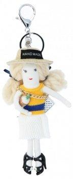 Kľúčenka na tašky bábika tamburína Biela