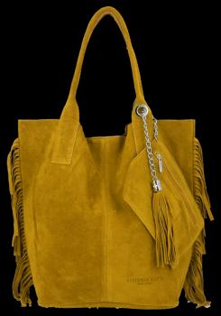 Módna kožená nákupná taška vyrobená zo semišu v štýle Boho od horčice Vittoria Gotti