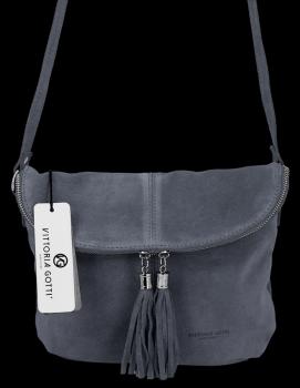 Univerzálna príležitostná kožená messengerová taška vo veľkosti M od Vittoria Gotti Indigo