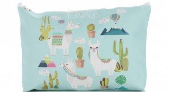 Značkové a módne kozmetické tašky veľkosti M značky David Jones llama pattern multicolor mint