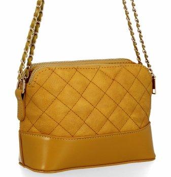 BEE BAG dvojkomorová taška Dámska prešívaná taška na Messenger Paris žltý
