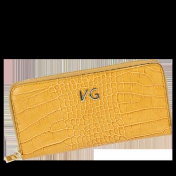 Elegantné značkové kožené Dámske peŘaženky Vittoria Gotti s horčicou aligátora