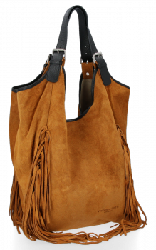 Módne kožené tašky Shopper Bag so strapcami od Vittoria Gotti Ruda