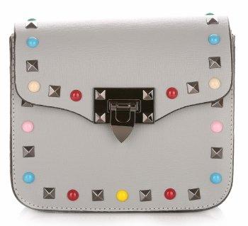 Módne talianske kožené Crossbody tašky s farebným popruhom Šedá