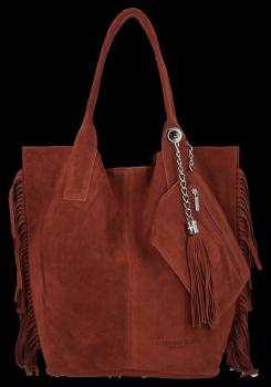 Módna kožená nákupná taška vyrobená zo semišu v Boho štýle Vittoria Gotti hnedý