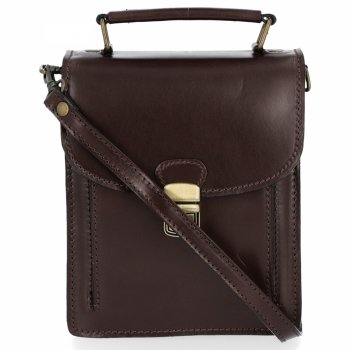Messenger taška vyrobená z pravej kože unisex hrubé tváre kože čokoláda